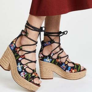 Tory Burch Positano Floral Lace Up Platform NEW